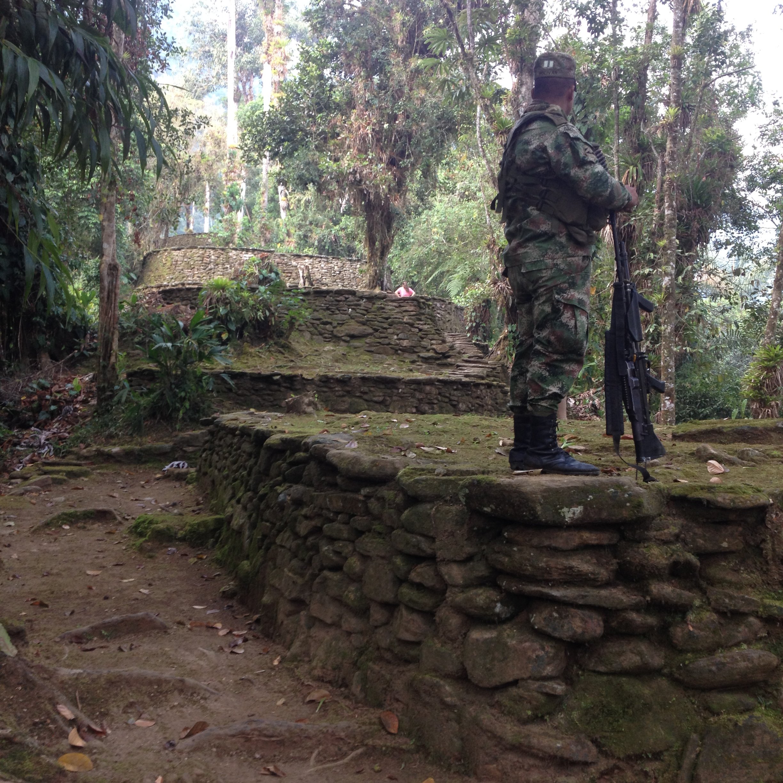 Soldiers guard Ciudad Perdida