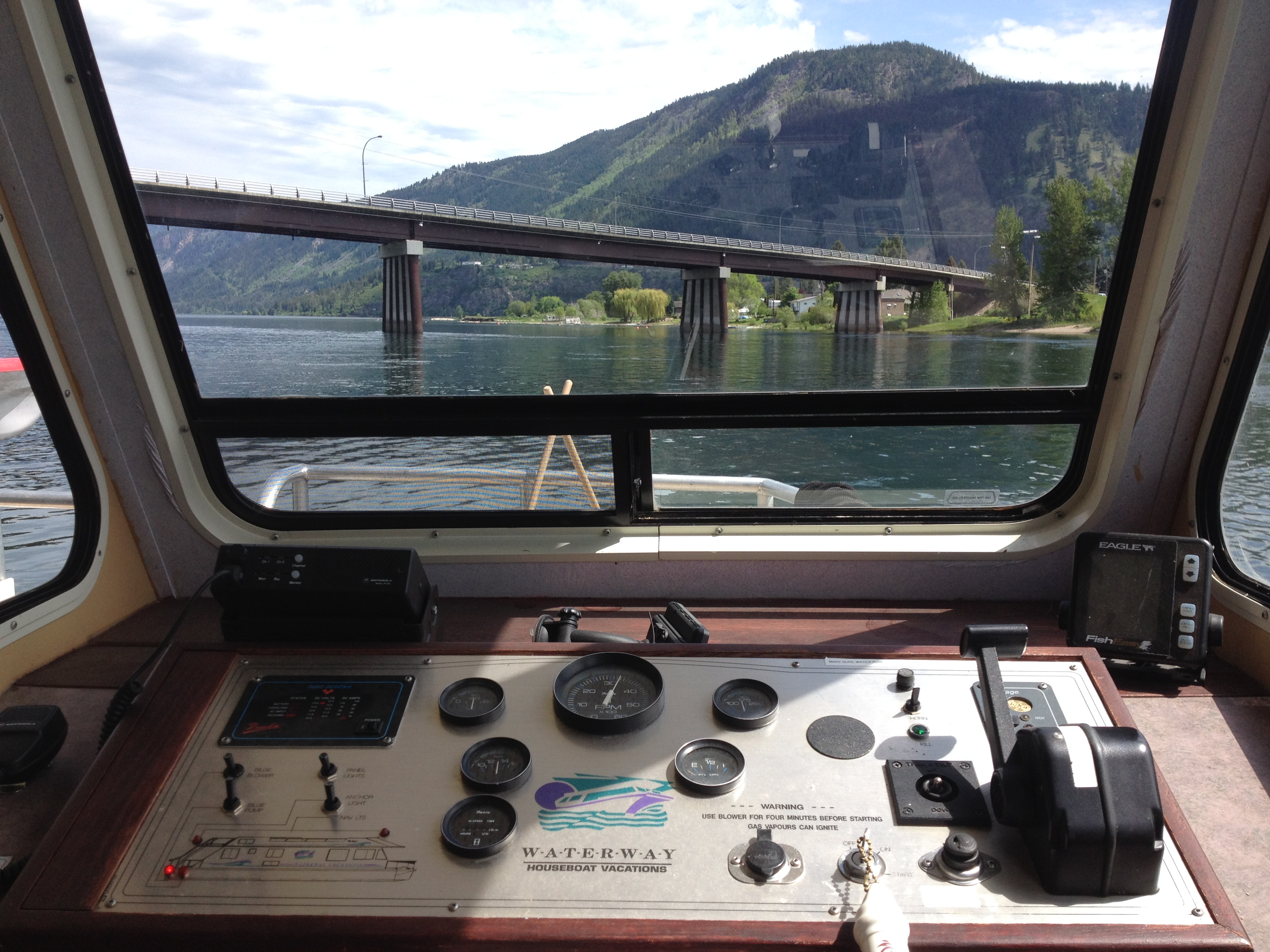 View from the Captain's helm of the houseboat.